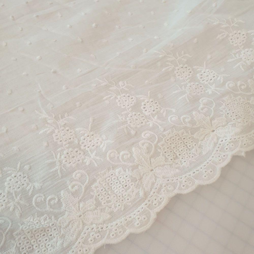 Cotton Dobby Fabric With Border White