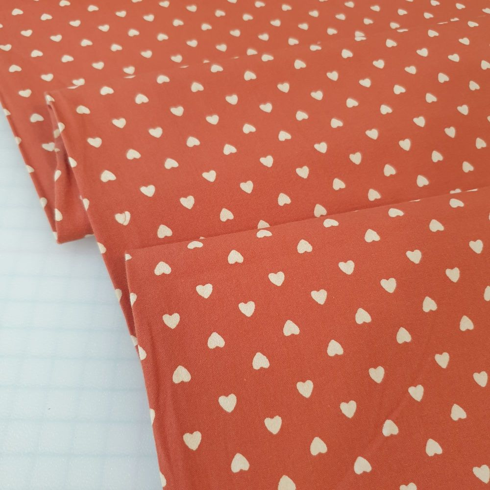 Washed Cotton Fabric Hearts Terracotta