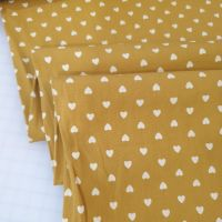 Washed Cotton Fabric Hearts Ochre