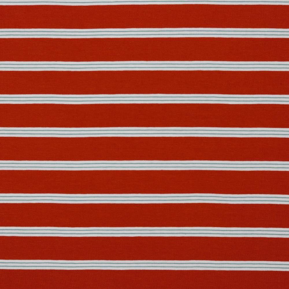 Cotton Jersey Fabric Pin Stripe Terracotta