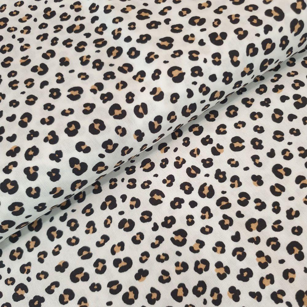 Cotton Poplin Fabric Leopard Print White