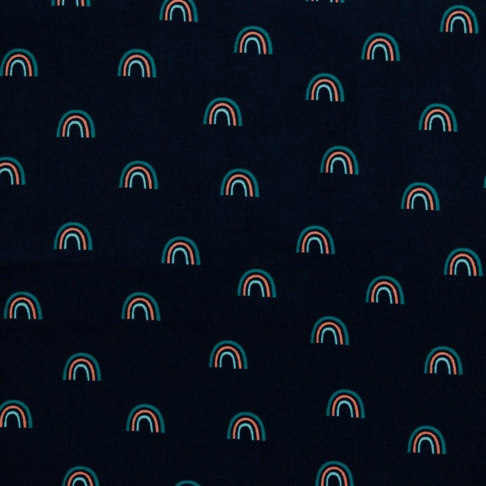 Babycord Fabric Rainbows Navy