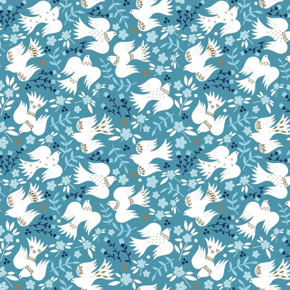 Dashwood Studio Cotton Fabric Starlit Hollow Metallic Doves