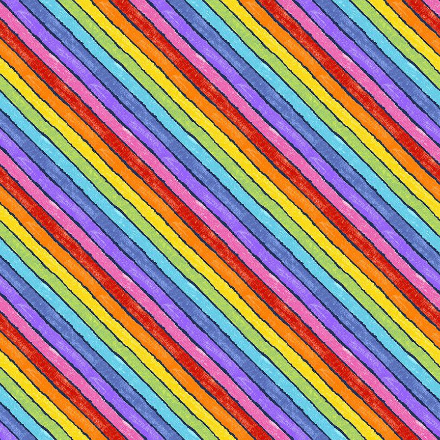 Makower Cotton Fabric VHC In The Garden Rainbow Bias Black