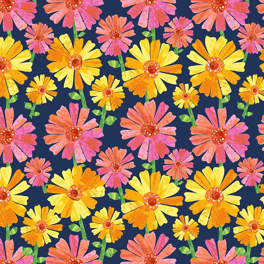 Makower Cotton Fabric VHC In The Garden Flower Fancy Navy