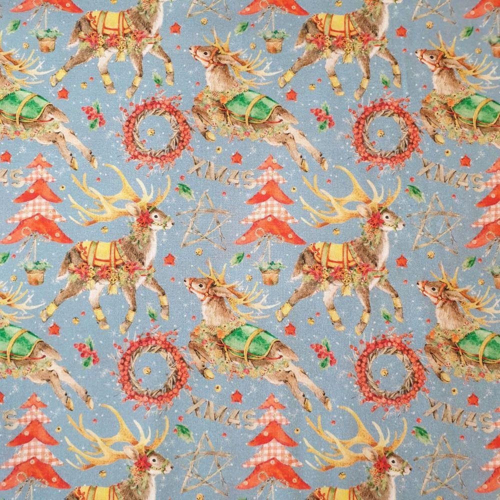 Christmas Cotton Fabric Festive Reindeer