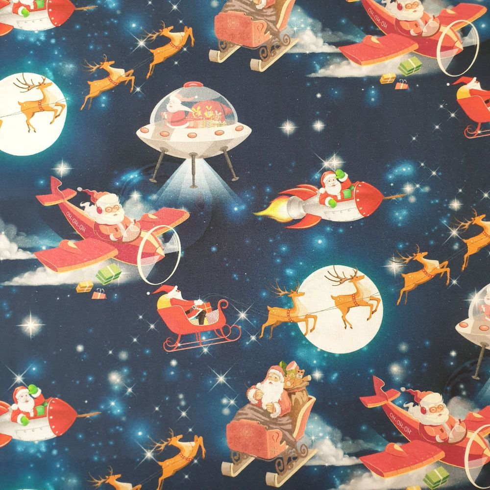 Christmas Cotton Fabric Santa In Space