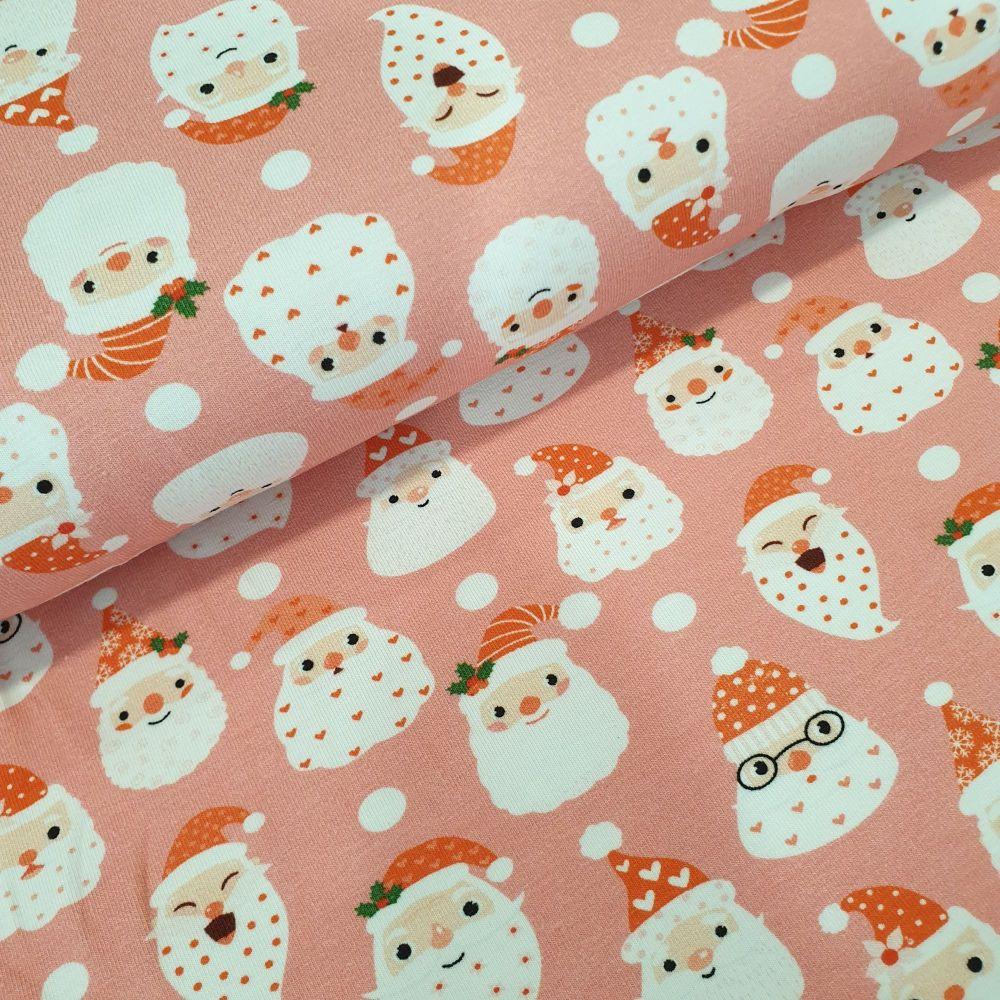 Christmas Cotton Jersey Fabric Santa Faces