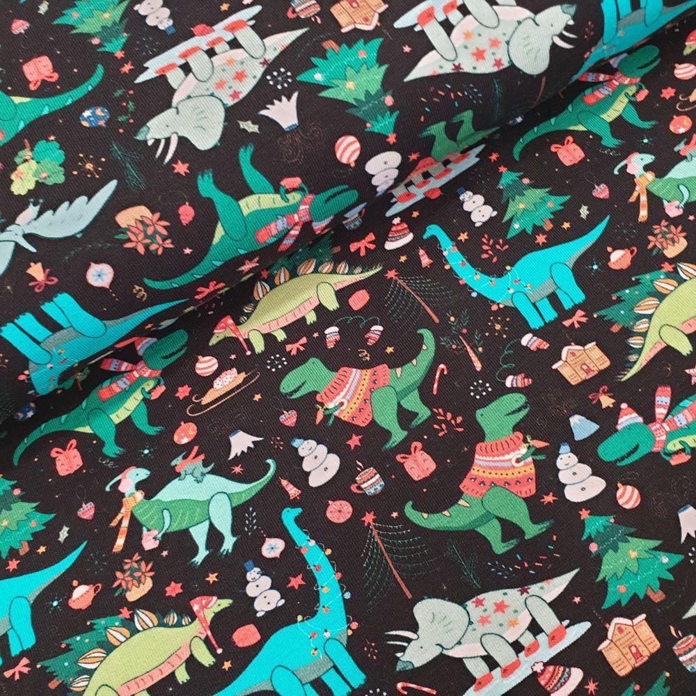 Christmas Cotton Jersey Fabric Dinosaurs