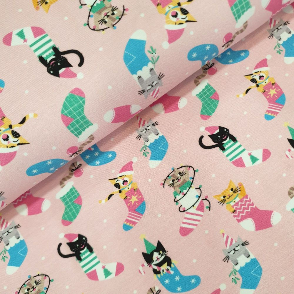 Christmas Cotton Jersey Fabric Cats In Stocking