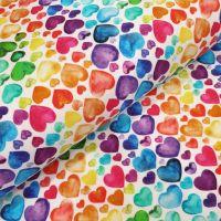 Little Johnny Cotton Jersey Fabric Rainbow Hearts