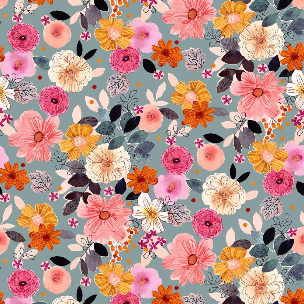 Rayon Fabric Lightweight Floral Grey