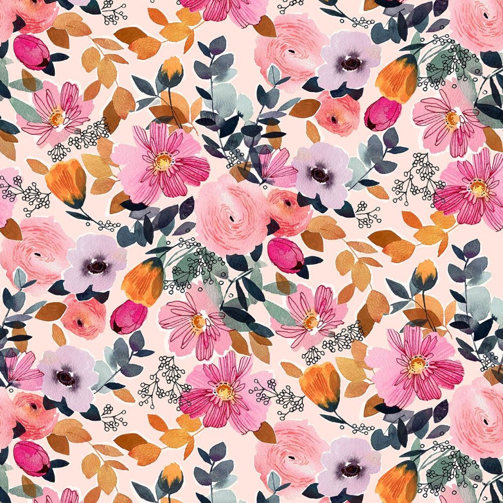 Rayon Fabric Lightweight Floral Pale Pink