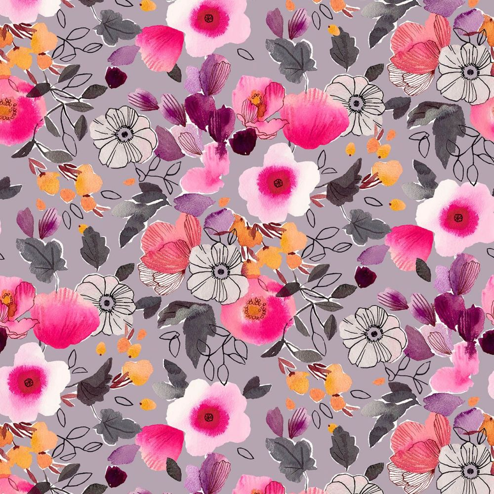 Rayon Fabric Lightweight Floral Lilac