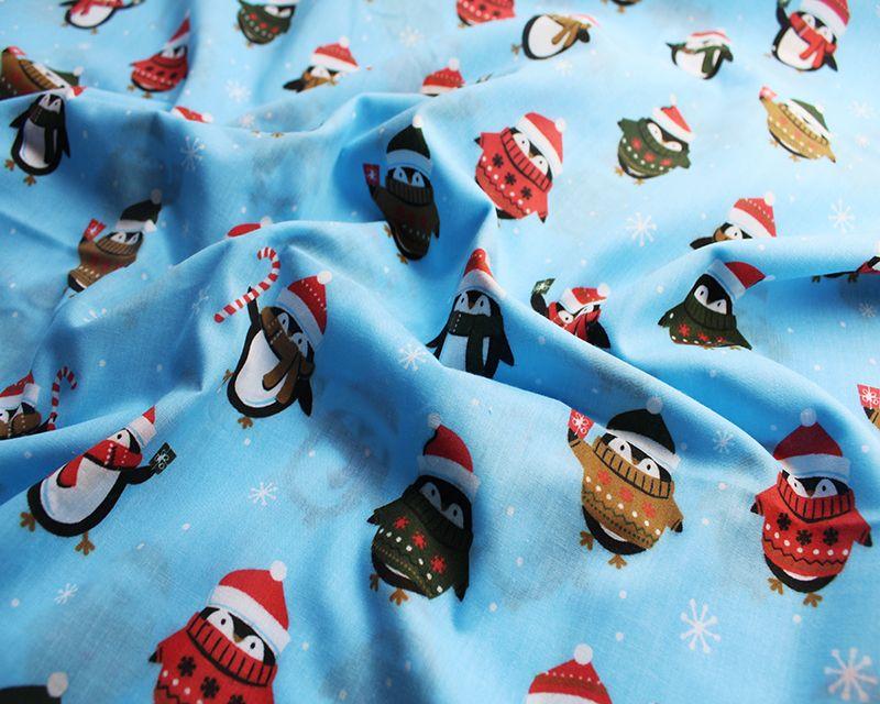 Christmas Polycotton Fabric Penguins