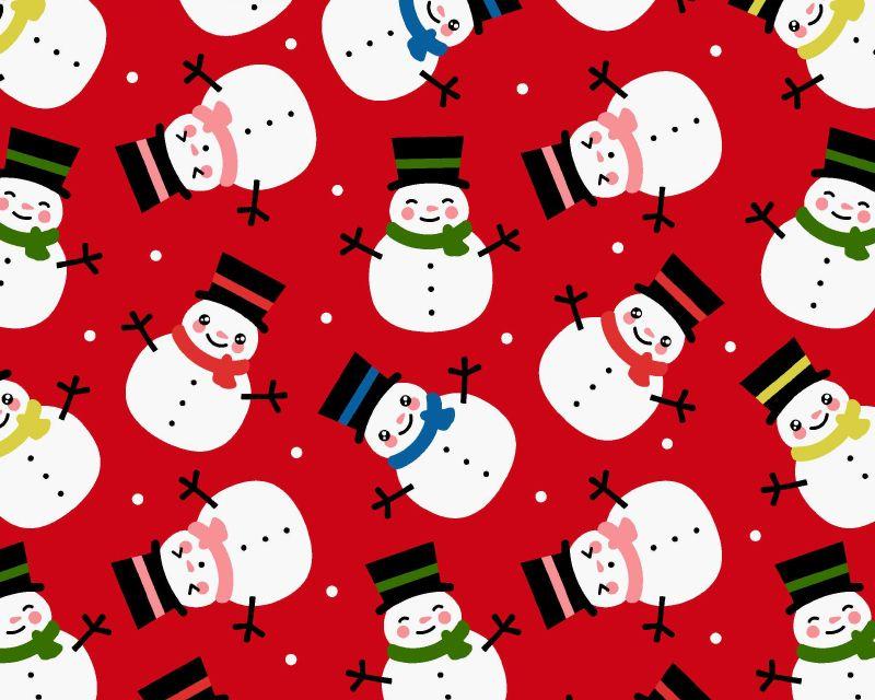 Christmas Polycotton Fabric Snowman