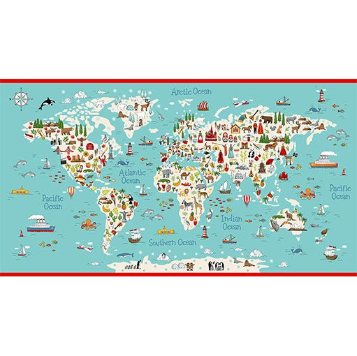 Makower Cotton Fabric Around The World Map