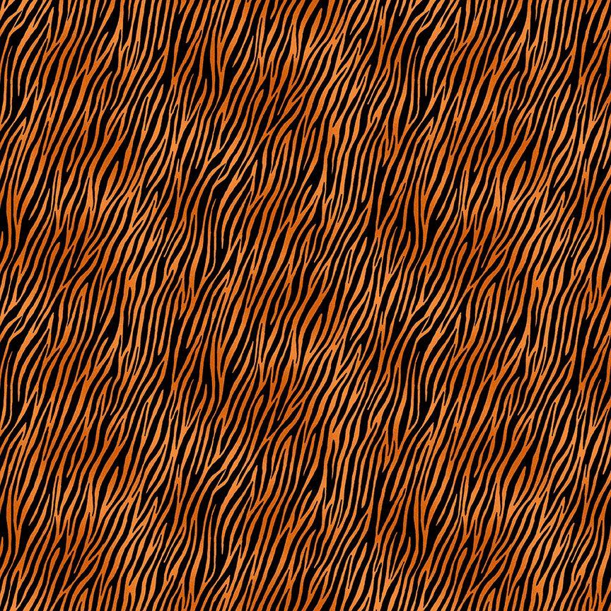 Makower Cotton Fabric Around The World Zebra Orange