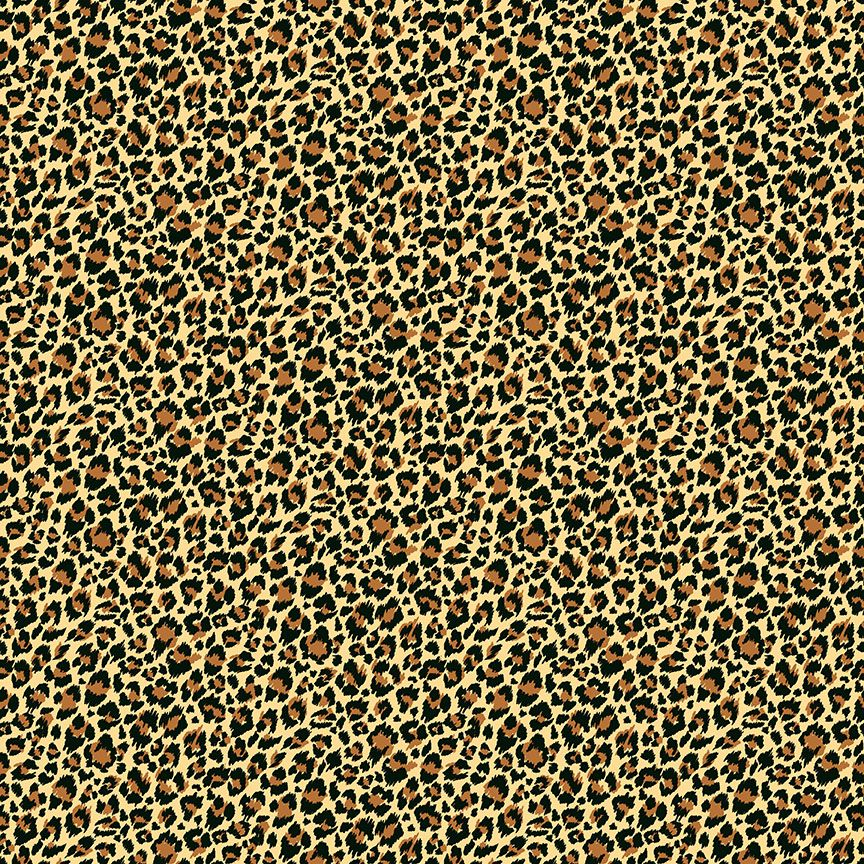 Makower Cotton Fabric Around The World Leopard Hessian