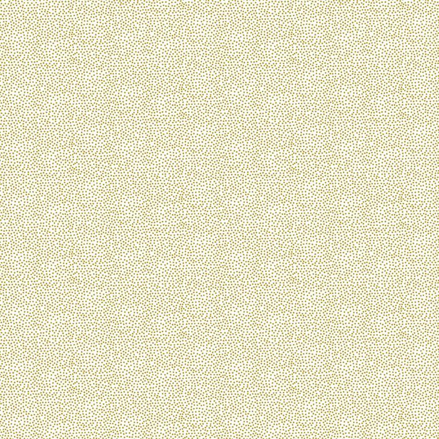 Makower Cotton Fabric Essentials Pin Dot Gold On White