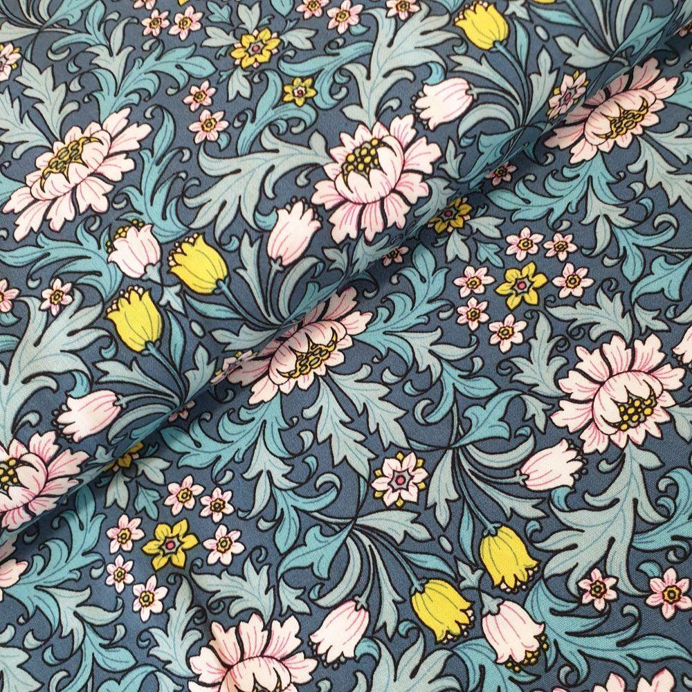 Viscose Fabric Flowers Blue