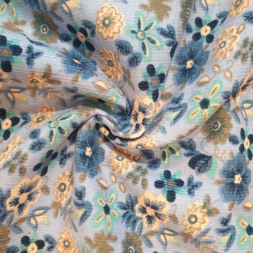 Babycord Fabric Flowers Blue
