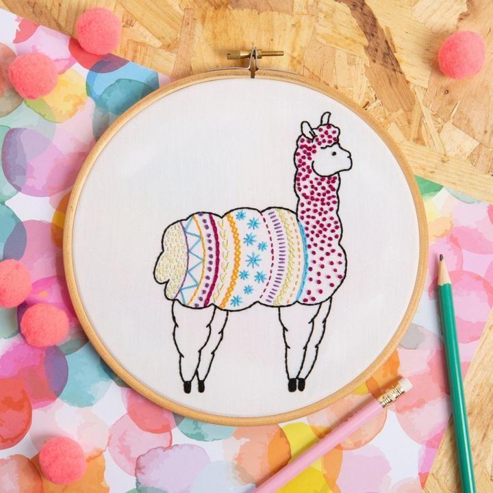 Alpaca Embroidery Kit Hawthorn Handmade