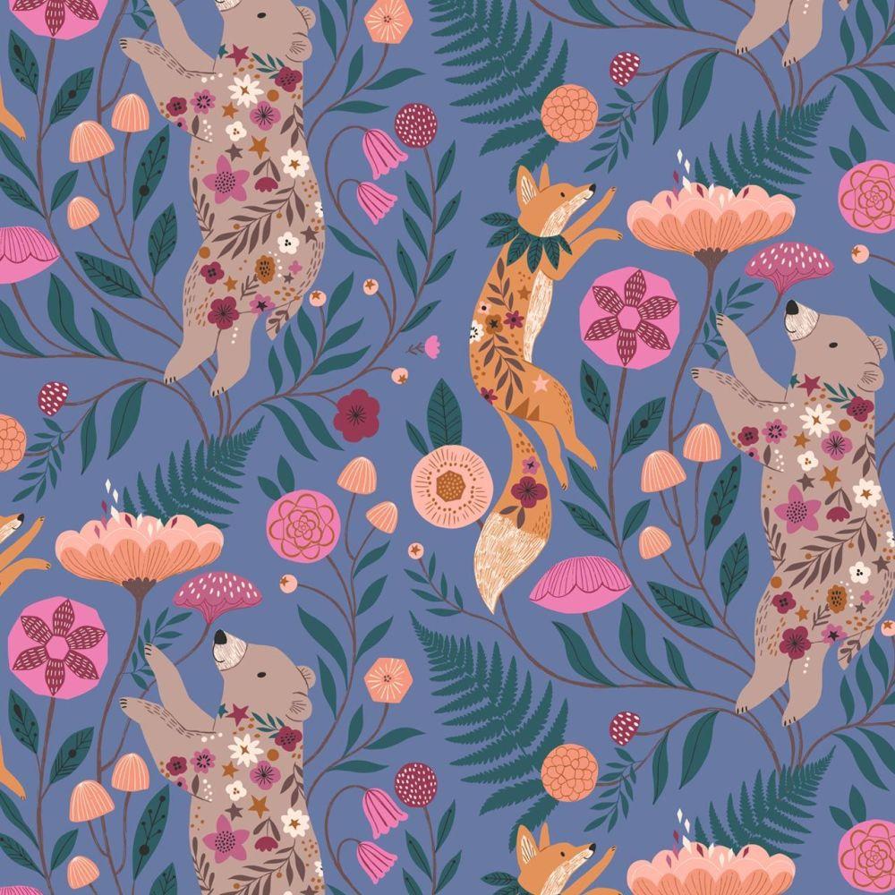 Dashwood Studio Cotton Fabric Wild Bears & Foxes Floral