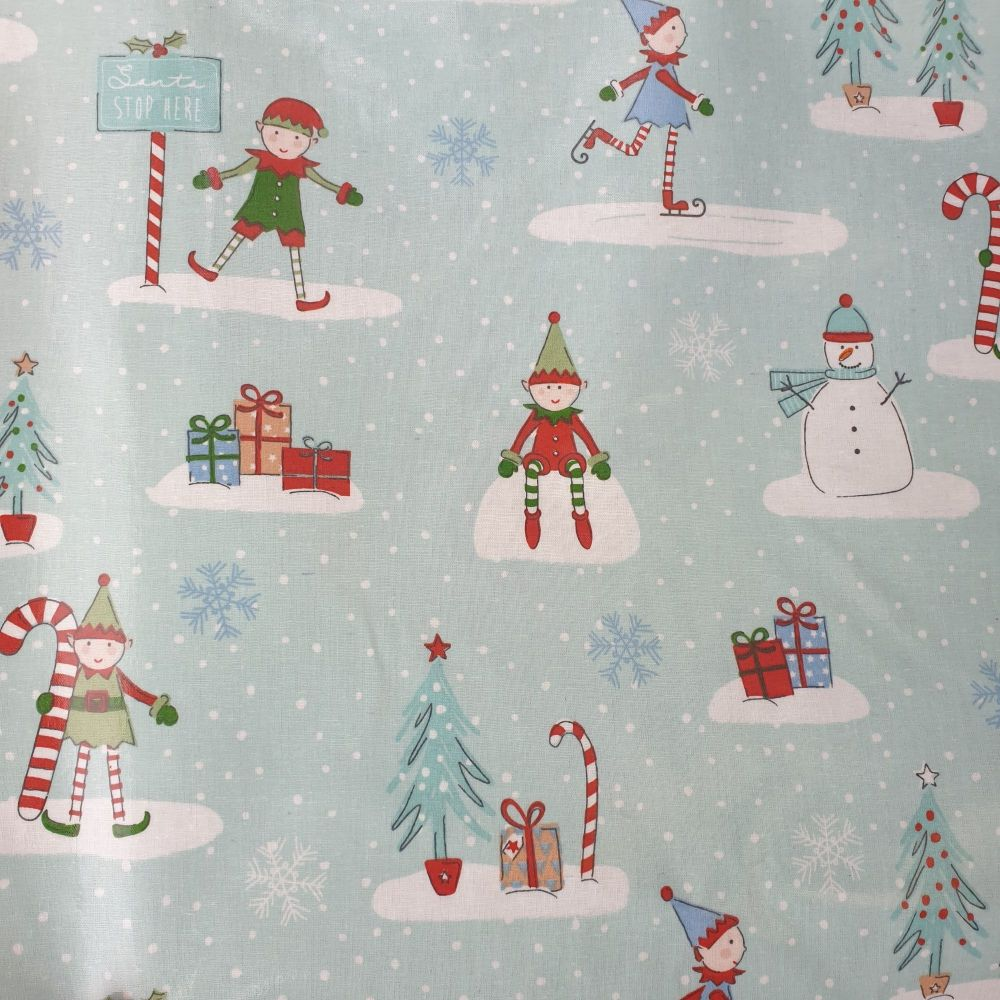 Oilcloth Cotton Fabric Christmas Cool Yule Blue