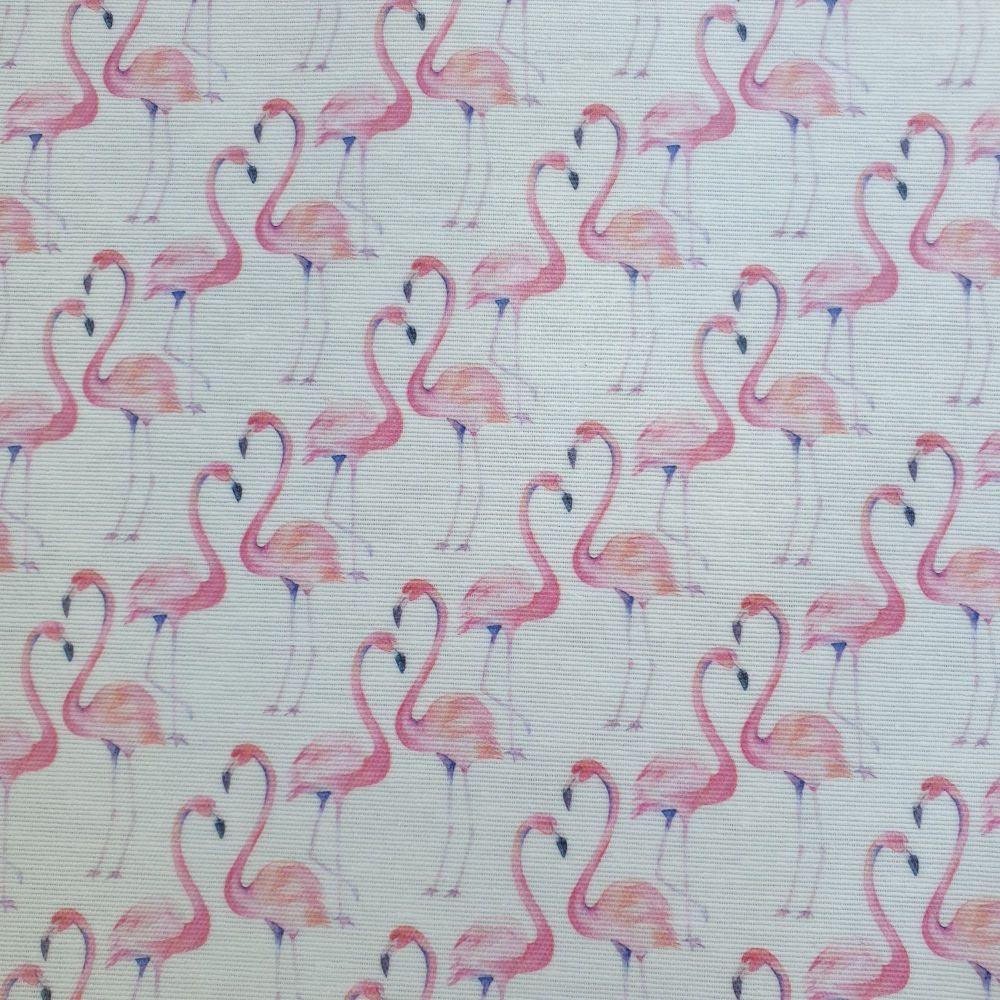 OilCloth Fabric Flamingos