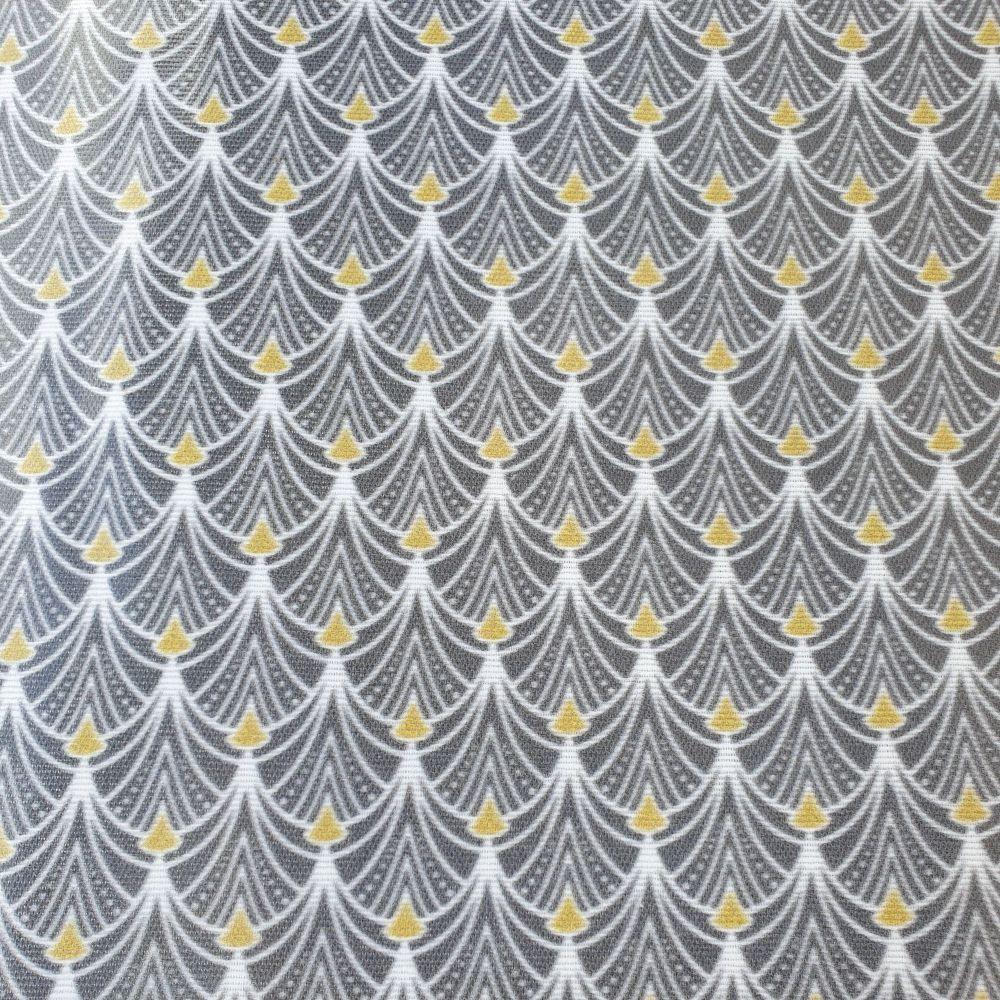 Oilcloth Fabric Art Deco Grey