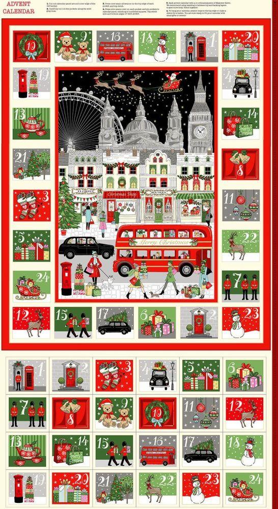 Makower Christmas Cotton Fabric London Advent Panel