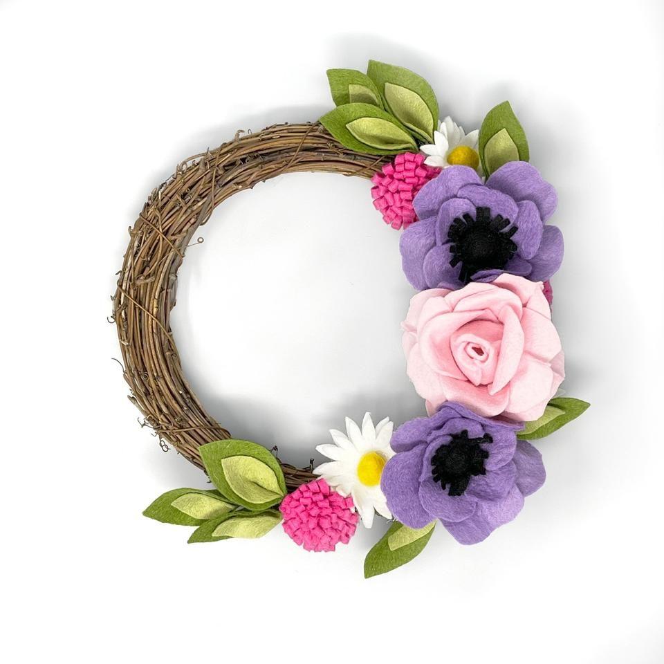 Crafty Kit Summer Flower Felt Wreath