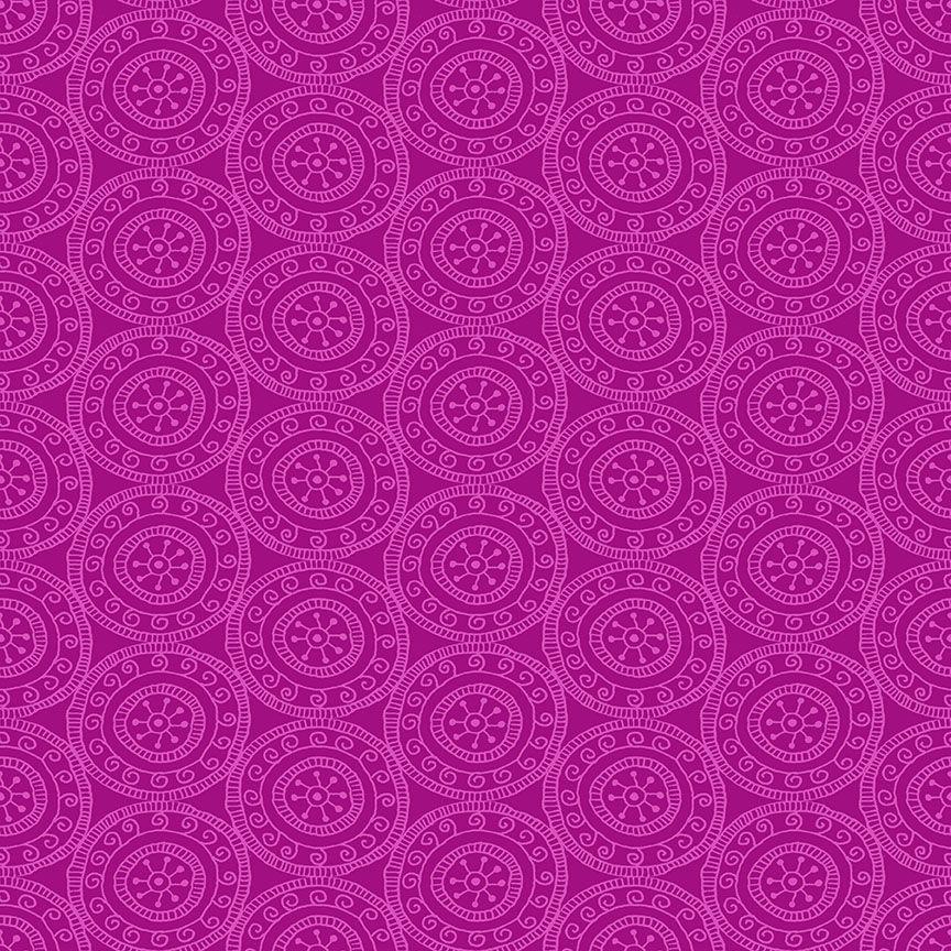 Henna By Makower Cotton Fabric Medallion Pink