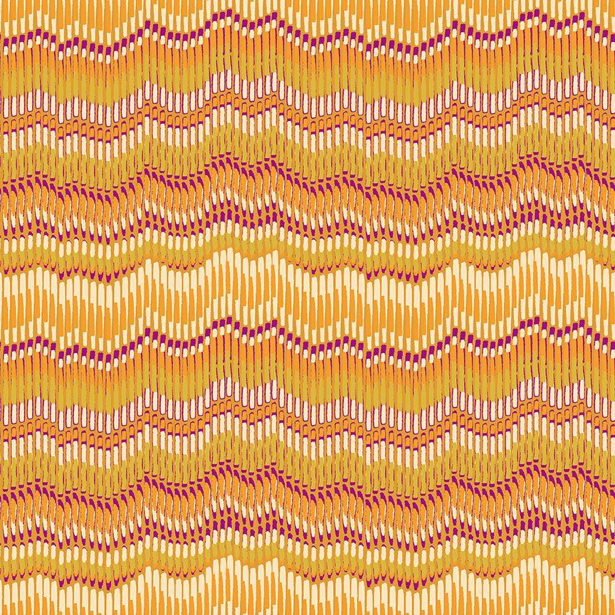 Henna By Makower Cotton Fabric Moire Stripe Yellow