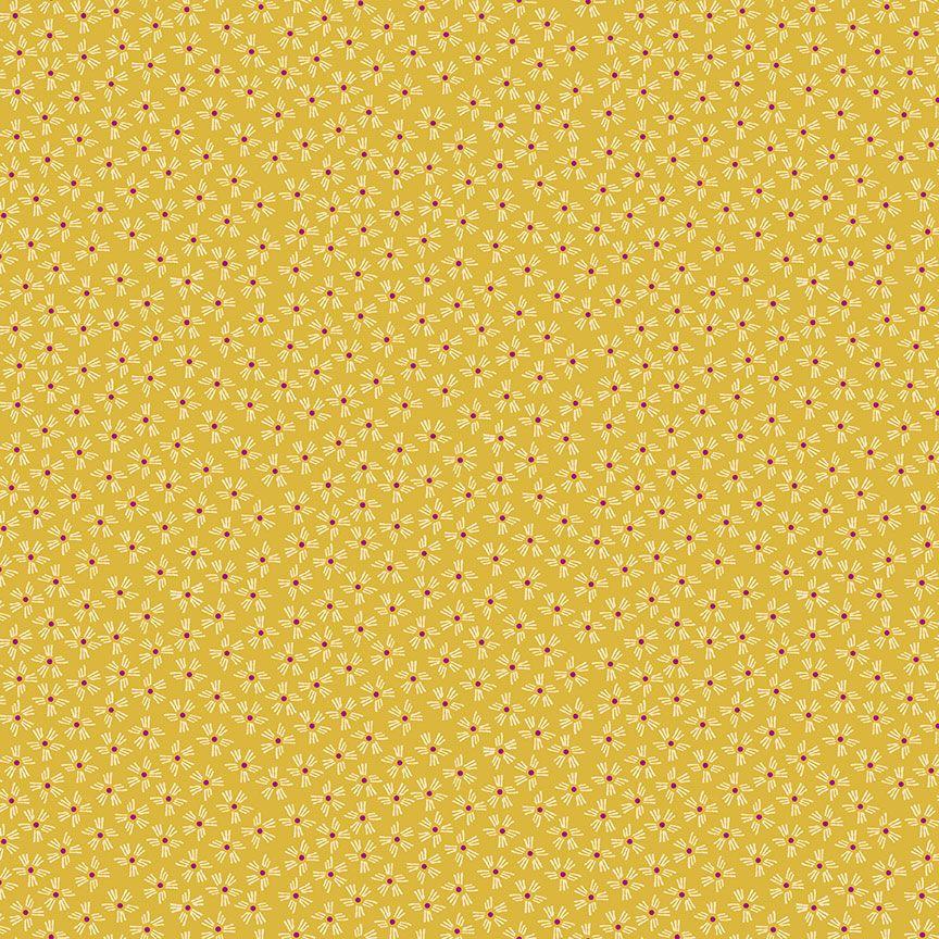 Henna By Makower Cotton Fabric Dash Flower Yellow