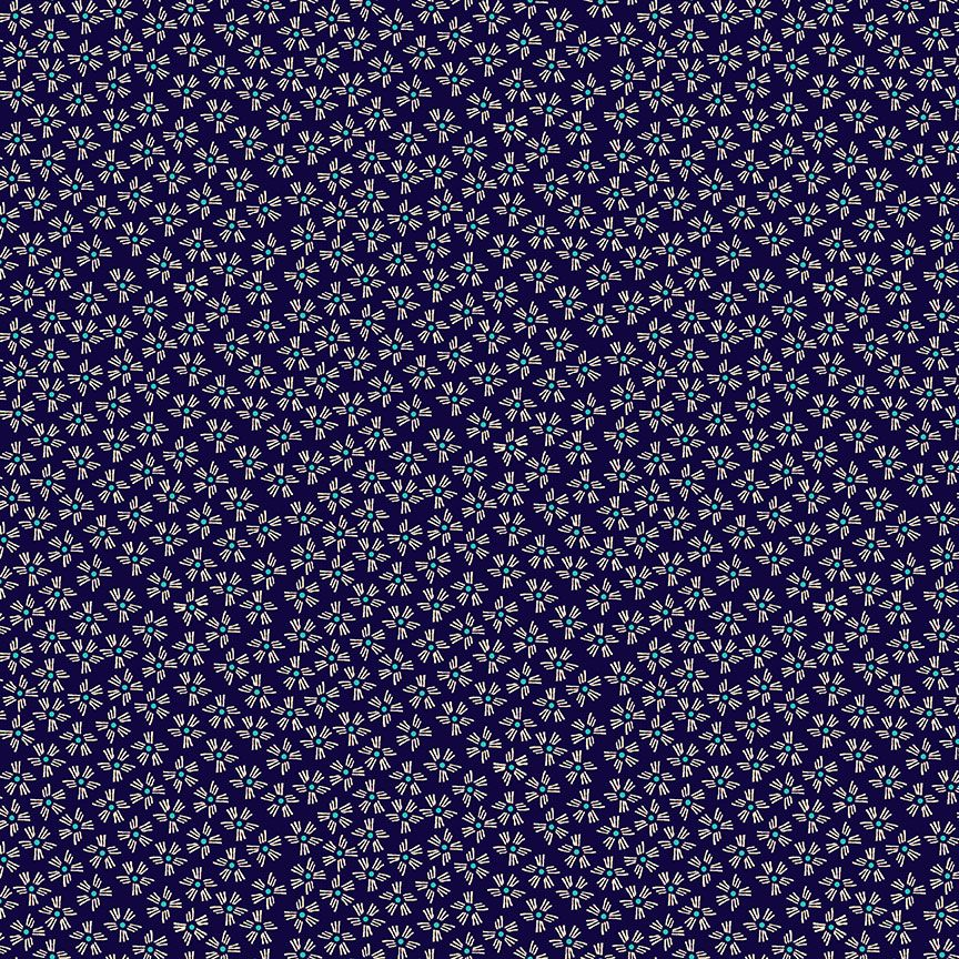 Henna By Makower Cotton Fabric Dash Flower Deep Purple