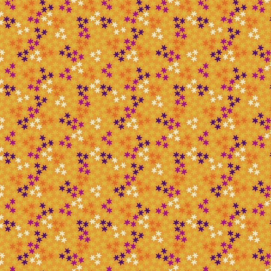 Henna By Makower Cotton Fabric Stars Yellow