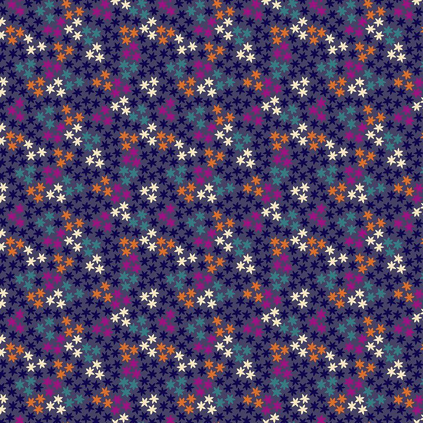 Henna By Makower Cotton Fabric Stars Purple