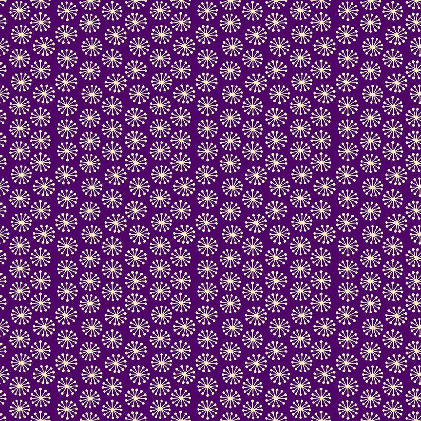 Henna By Makower Cotton Fabric Pop Purple