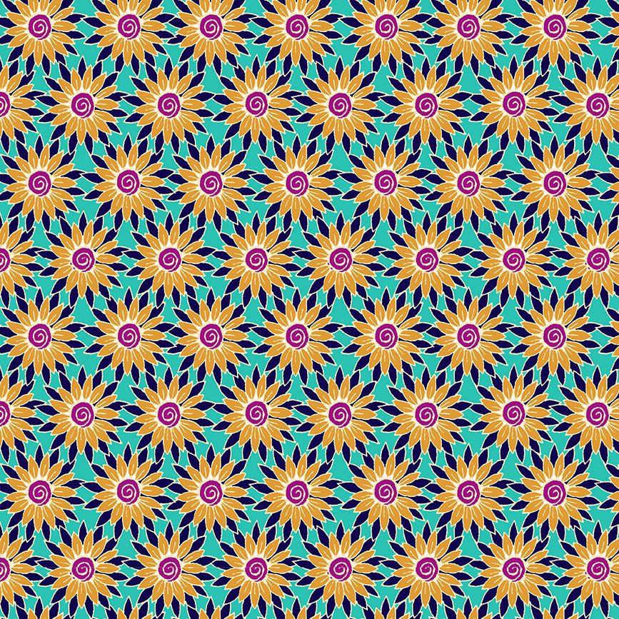 Henna By Makower Cotton Fabric Sunflower Turquoise Yellow