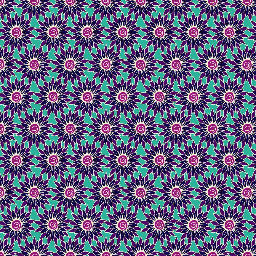 Henna By Makower Cotton Fabric Sunflower Turquoise Purple