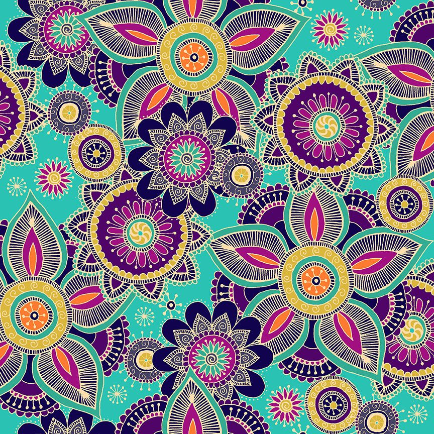 Henna By Makower Cotton Fabric Henna Turquoise