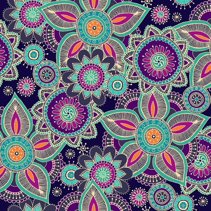 Henna By Makower Cotton Fabric Purple