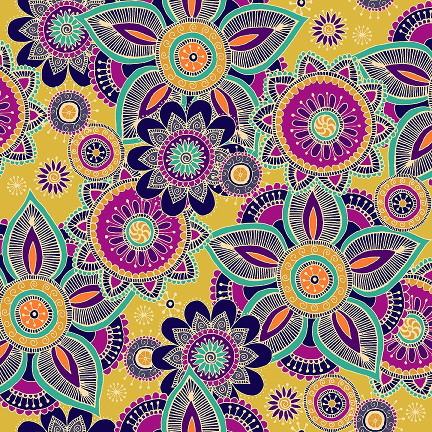 Henna By Makower Cotton Fabric Henna Yellow