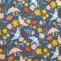 Babycord Fabric Birds & Flowers