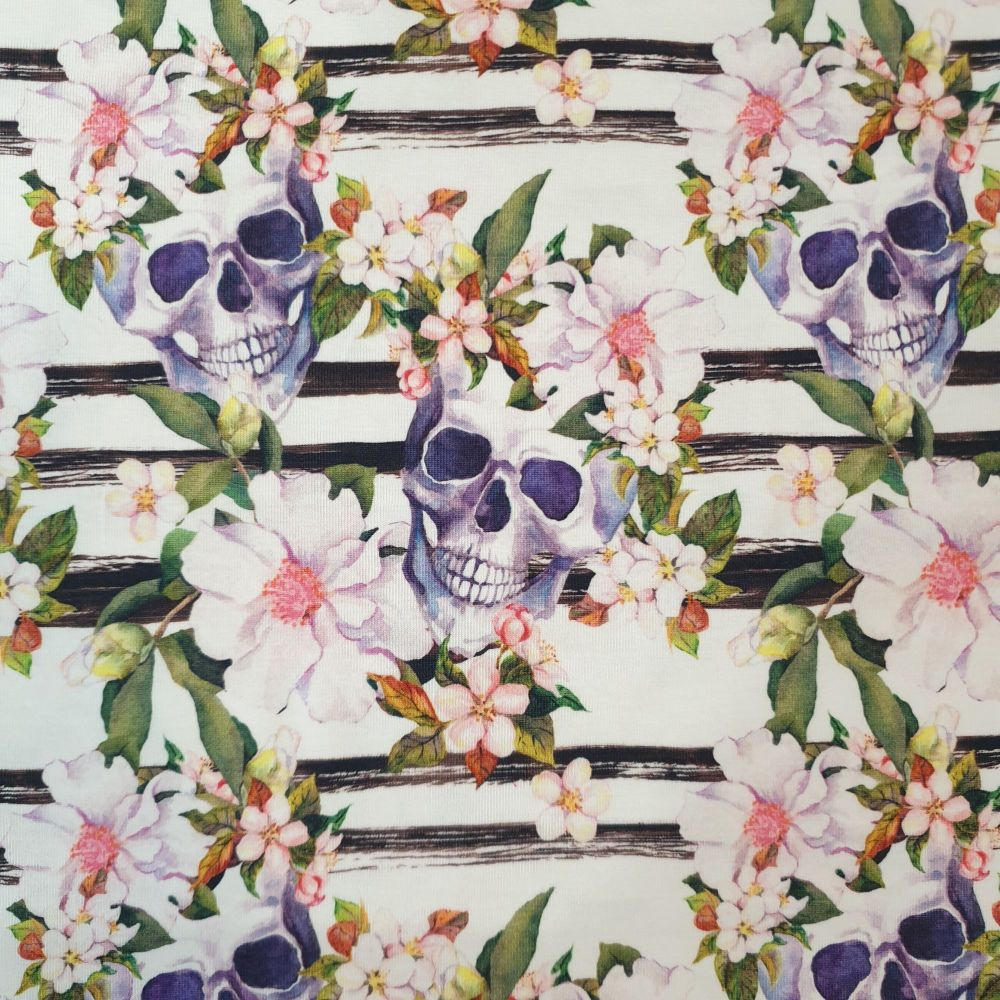 Organic Cotton Jersey Fabric Floral Skulls