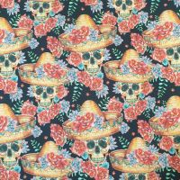 Cotton Fabric Mexican Skulls