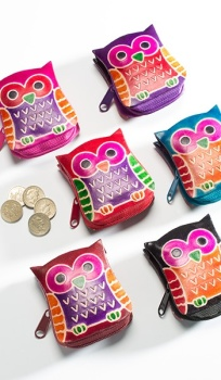 Leather owl purse