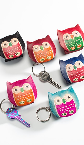 Leather owl key ring